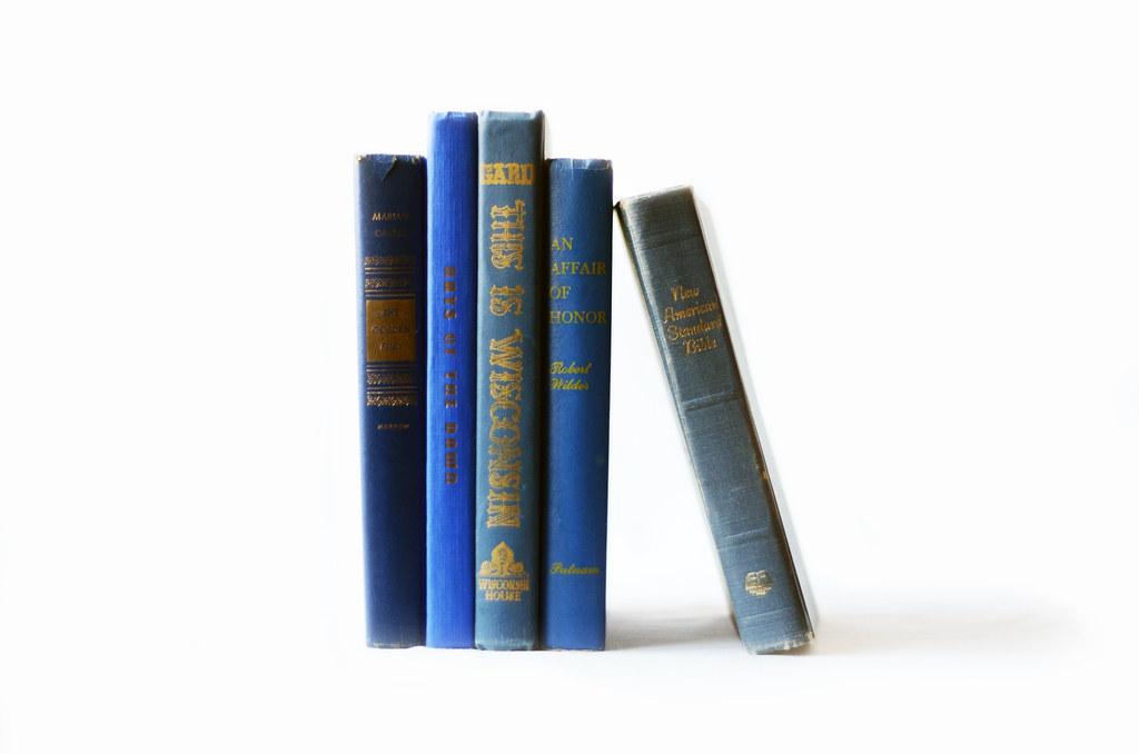 Set of Five Vintage Blue Books