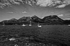 Mt Amos and Mt Mayson, seen from Coles Bay (B&W)