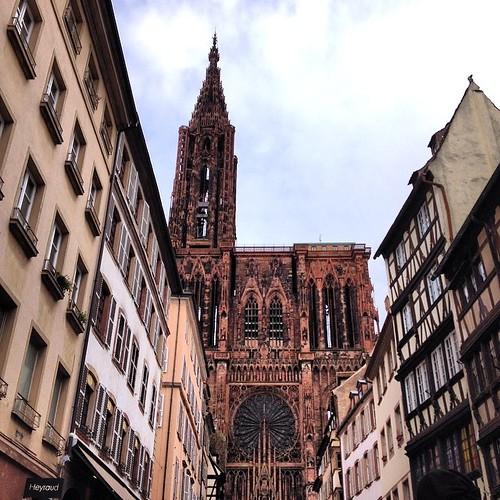 Notre Dame de Strasbourg Cathedral, down the gut of Rue de Mercière.