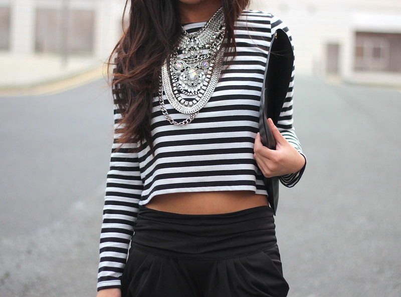 Article 21 UK Fashion & Style Blog, F&F striped long sleeved crop, striped crop top, chunky silver necklace, new look necklace, breton striped top, how to wear a crop top, uk fashion blogger, top uk blogs, best uk fashion blogs, british fashion blogs, uk chinese blogger, manchester fashion blogger