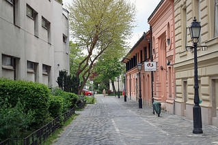 Harrer Pal Street in Obuda, a northern suburb of Budapest, Hungary