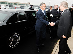 Prime Minister Shaukat Aziz is received by Defense Secretary Donald Rumsfield at the Pentagon, 2006