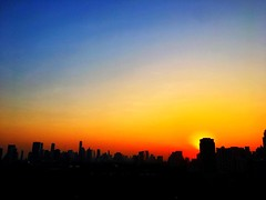 Hazy #bangkok #sunset #city #skyline from our balcony last night