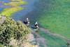 Un cavalier cabre son cheval au bord du lac de Dhaya