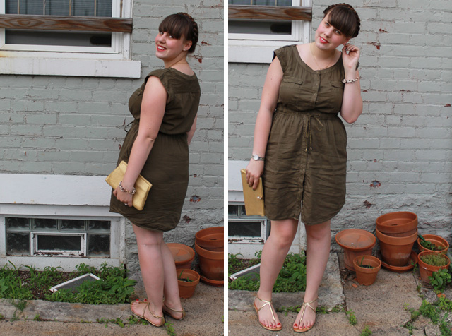Olive you outfit: olive green military shirt dress