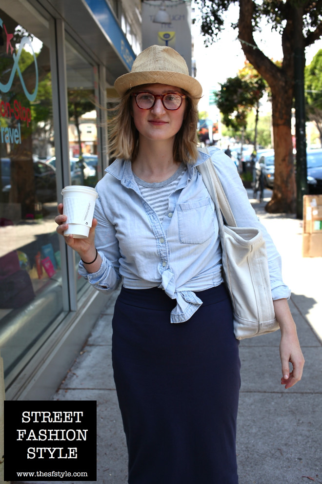 maxi skirts, long skirt, denim shirt, Chambray, tortoise-shell glasses, canvas tote, san francisco fashion blog, thesfstyle, sfstyle, street fashion style,