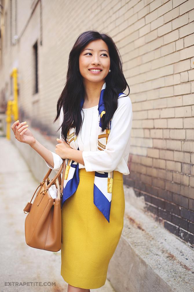mustard skirt hermes scarf