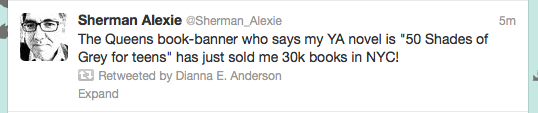 screengrab of Twitter update from Sherman Alexie