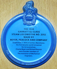 Photo of Beyer, Peacock and Company, Charles Beyer, Richard Peacock, and Garratt Class Steam Locomotive No 2352 blue plaque