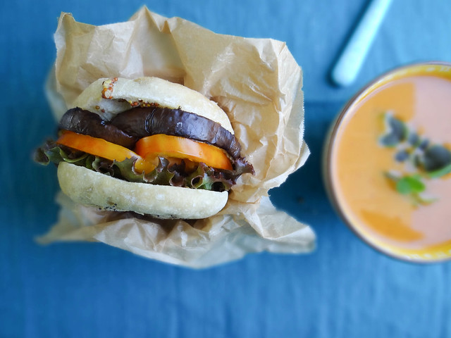 eggplant tomato bialy sandwich