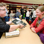 Derek Landy meets his young fans |