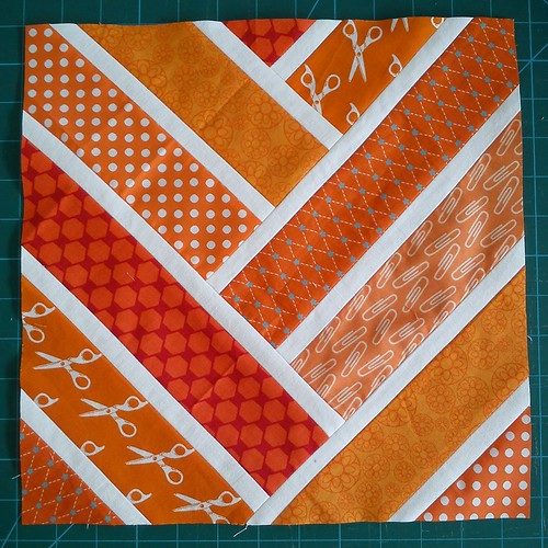 Orange Broken Herringbone block