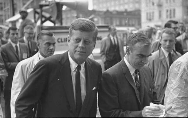 John F. Kennedy walking with group of men, Jim Wright is to JFK's left, 11/22/1963 • Courtesy, Fort Worth Star-Telegram Collection, Special Collections, The University of Texas at Arlington Library, Arlington, Texas.