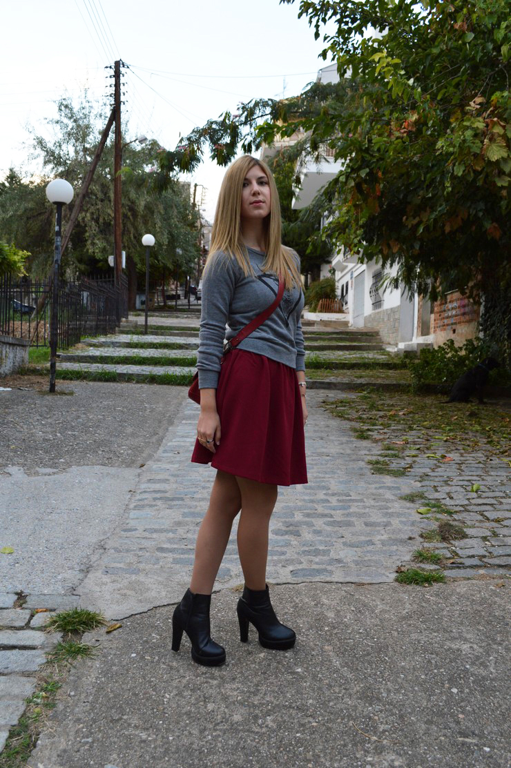 burgundy dress grey sweater10