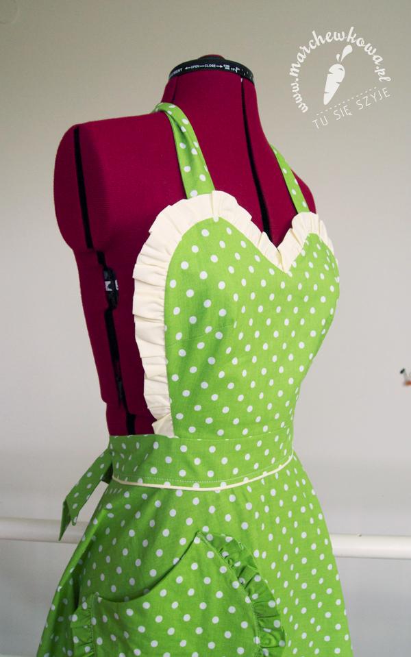 Green 50s style apron, retro fartuszek, groszki, szycie, krawiectwo, blog, vintage