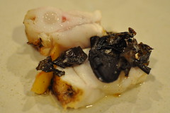 detail: Monkfish, Plums, Orange Birch Bolets, Sol
