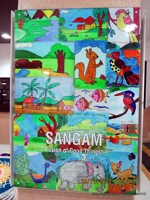 Child Art in the Entrance Lobby - Handing Over Ceremony of Sanjeevani Developers' Sangam at Sus on Sunday 20th October 2013