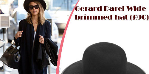 Jessica Alba in a black chapeau hat by Gerard Darel