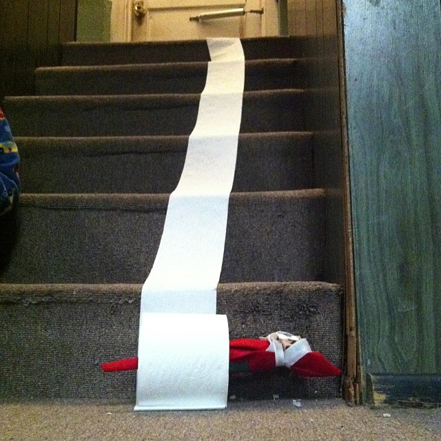 #elftakeover : toilet paper fun! #holiday2013daily Elf on the Shelf