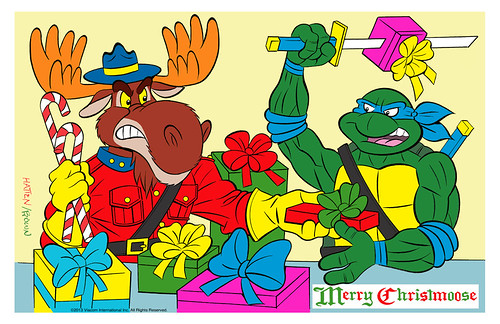 "TEENAGE MUTANT NINJA TURTLES :: ""MERRY CHRISTMOOSE"" .. pencils by Bruce Hatten, colors & inks by Ryan Brown  (( 2013 ))"