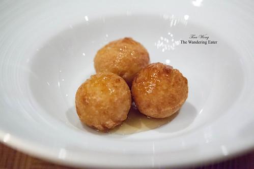 Foie gras lokoumades (a Greek-style donut)
