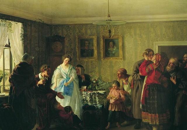 Григорий Мясоедов. Поздравление молодых в доме помещика. 1861 год