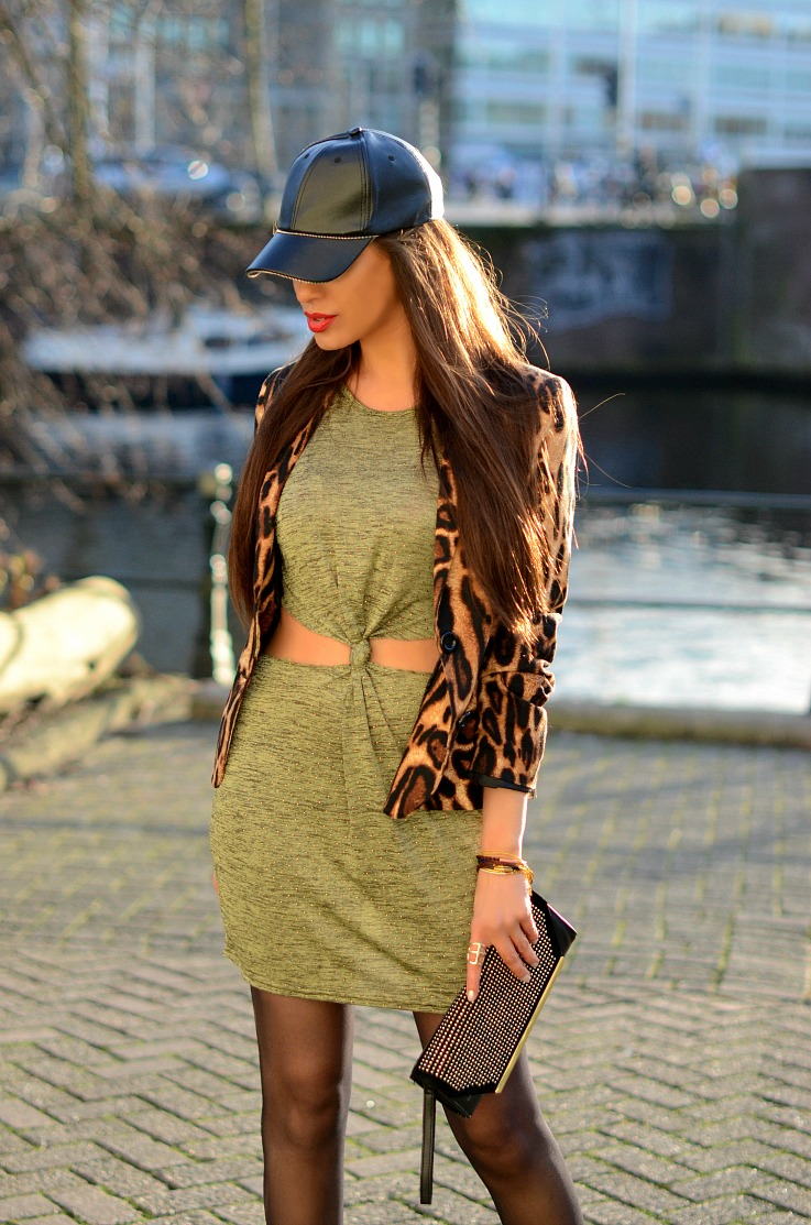 DSC_3661 leopard blazer, Amsterdam Fashion week 2014, Ready to Fish, Zara leather cap resized