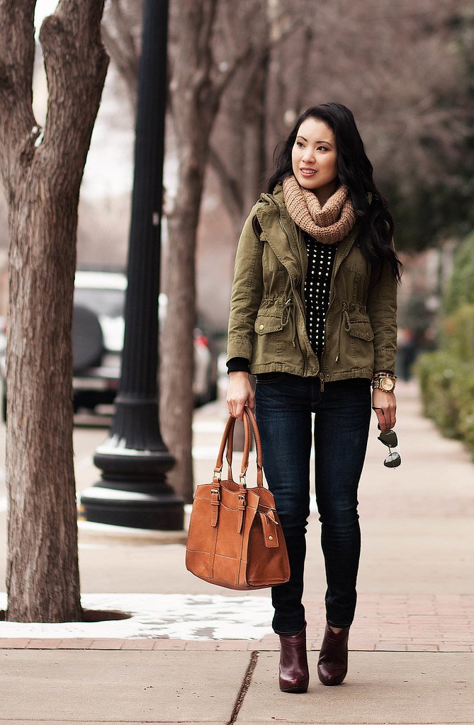 Cute u0026 little | Dallas Fashion Blog Utility Jacket + Studded Sweater