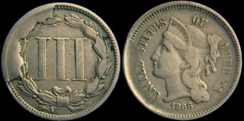 Three cent nickel cud error