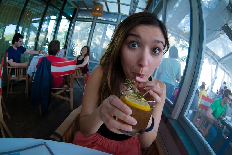 Deya Drinking a Mizzen Mast at Perla's
