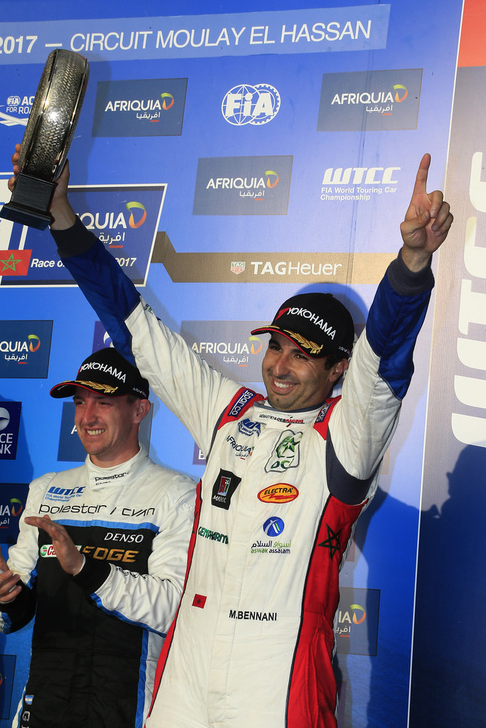 podium race 2  BENNANI Mehdi (mor) Citroën C-Elysée team Sébastien Loeb Racing ambiance portrait during the 2017 FIA WTCC World Touring Car Race of Morocco at Marrakech, from April 7 to 9 - Photo Paulo Maria / DPPI