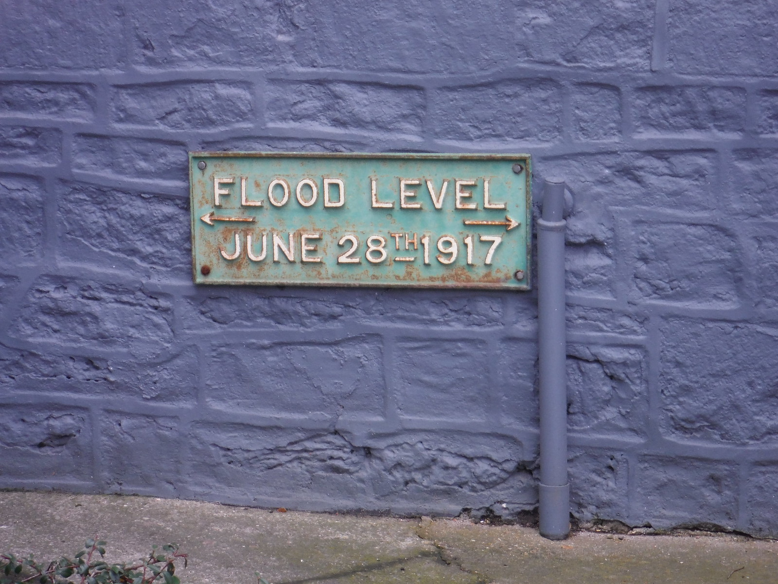 Flood Level 1917 Sign, Bruton SWC Walk 284 Bruton Circular (via Hauser & Wirth Somerset) or from Castle Cary