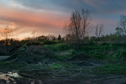 canoneos5dmarkiv pile dirtpile green verde spring may midland michigan suelo rain puddle puddles grass weeds sunset mi