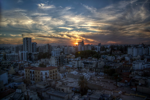 cyprus nicosia city hdr cityscape sunset sky cloud sun