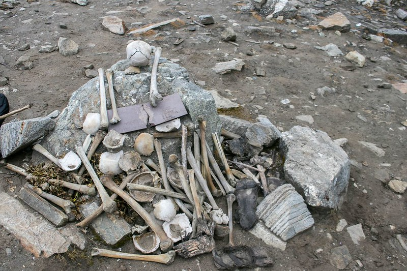 Skeletons on Roopkund Lake