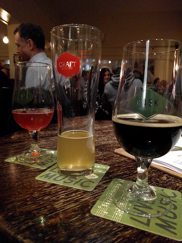 red, blonde and dark beers