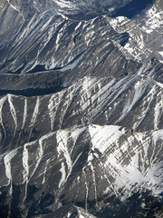 Aerial photo  of snow on the Rocky Mountains