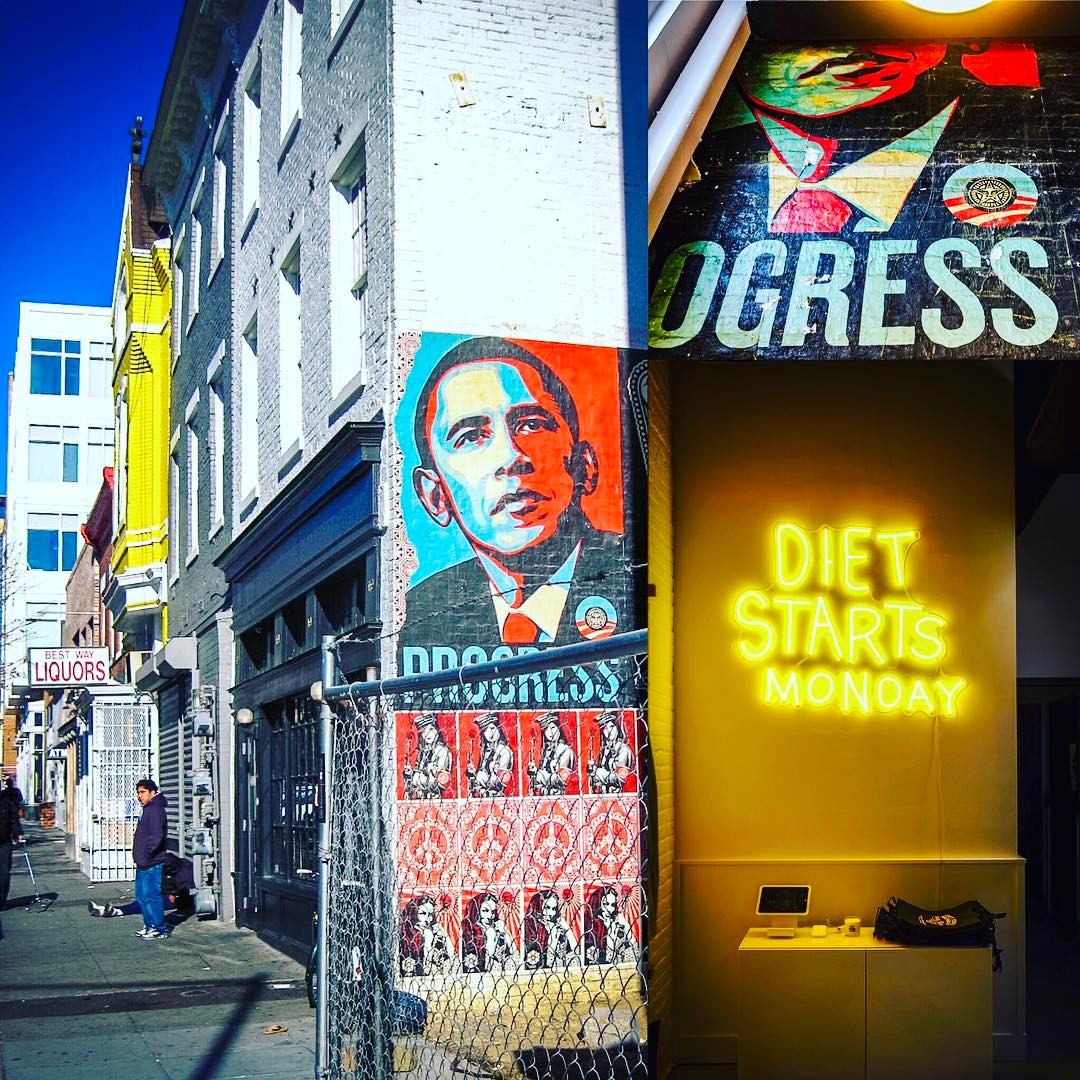 An original obeygiant poster now visible in new dietstartsmonday__ - image from my archives from 2008 on the left, of a much less healthy 14thandu | ❤️🌎-#instadc-#DC-#History-#wherewecamefrom PS love the-#allgender bathrooms inside