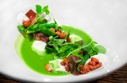 Barley Swine (Austin, TX) -- Chilled pea soup, grilled lamb bologna, peanut, bacon jelly