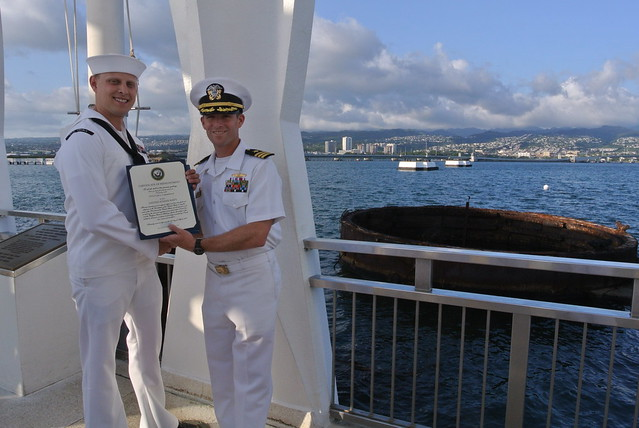 Reenlistment ceremony onboard USS Arizona Memorial