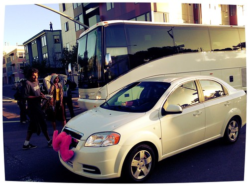 Steve Rhodes posted a photo:	The lyft car got through but the bus is still blocked humanbein.org