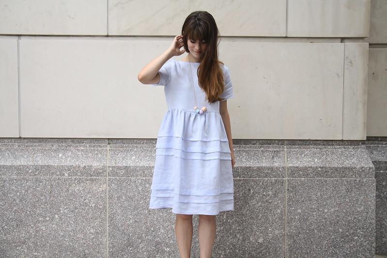 pintuck dress in blue linen
