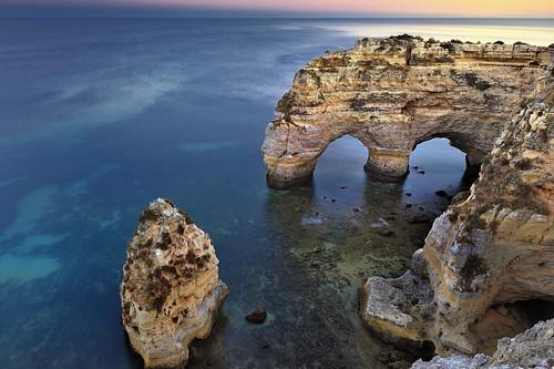 ocean sunset sea seascape praia beach portugal water rock coast sand nikon rocks arch natural cove rocky tunnel cliffs atlantic caves da coastline lagoa algarve coves marinha carvoeiro benagil praiadamarinha joaofigueiredo nikond3x joaoeduardofigueiredo