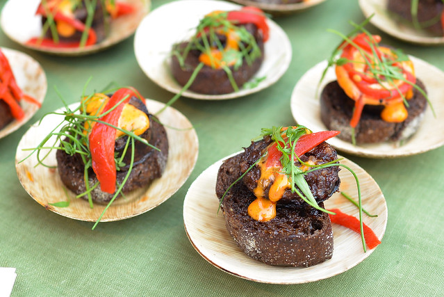 Taberna Arros y Vi cider braised morcilla with harissa aioli, greeb scallion, piquillo peppers