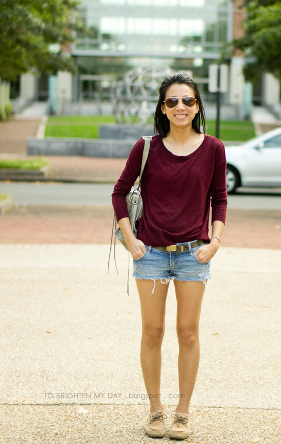 burgundy sweater, denim shorts