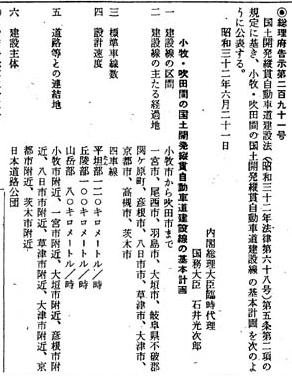 名神高速基本計画官報