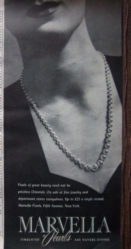 1943 Vintage Marvella Simulates Pearls Pearl Necklace Jewelry