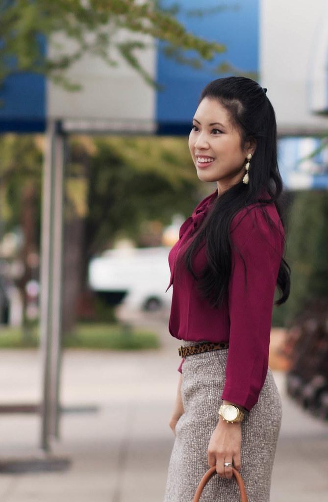 cute & little blog | burgundy top, tweed skirt, brown tights, leopard belt outfit