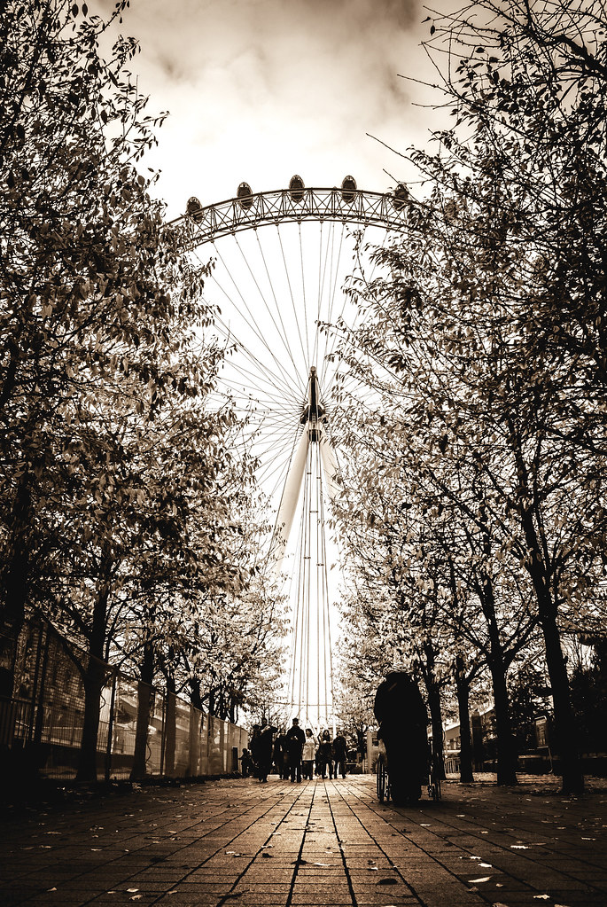 london eye, the eye, eye, wheel, thames, south bank, silhouette, path