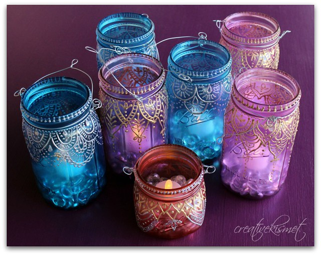 Painted glass and table regina lord of creative kismet for How to paint glass jars